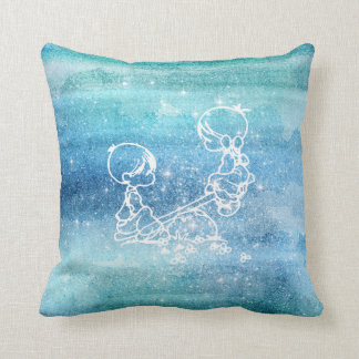 Painted Galaxy Watercolor Boy Girl Seesaw Doodles Throw Pillow