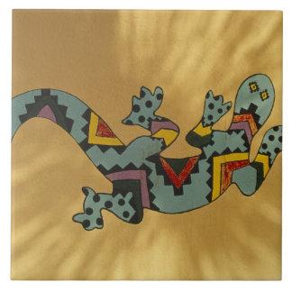 Painted gecko lizard on wall, Tucson, Arizona, Tiles
