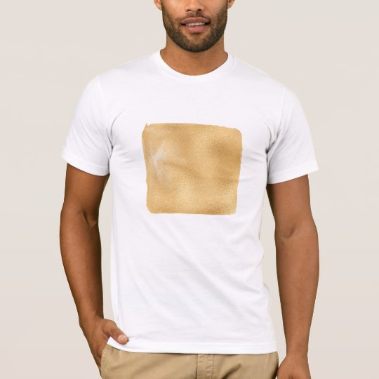 Painted Geometric Square Golden Metallic Modern T-Shirt