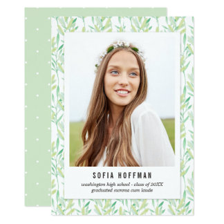 Painted Greenery Graduation Announcement Invite