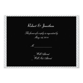Painted Groom Silhouette Gay Wedding Response Card Personalized Invitation