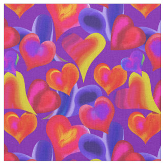 Painted Hearts on Purple | Valentine's Day Fabric