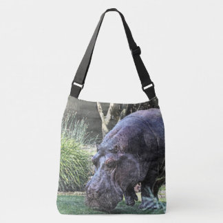 painted hippopotamus crossbody bag