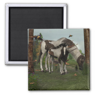 Painted Horse and Foal Fridge Magnets
