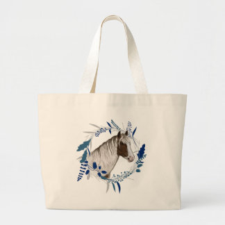 Painted Horse Blue Holiday Wreath Large Tote Bag