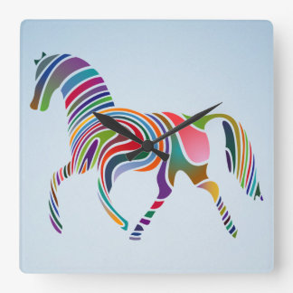 painted horse square wall clock