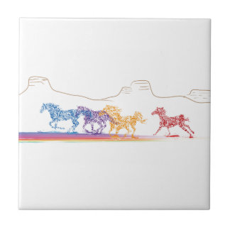 Painted Horses in the Painted Desert Tile