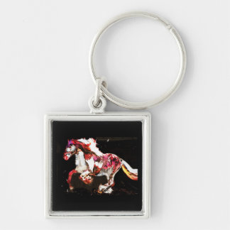 Painted Irish Gypsy Horse Silver-Colored Square Keychain