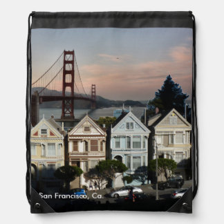 Painted Ladies And Golden Gate Bridge Drawstring Bag