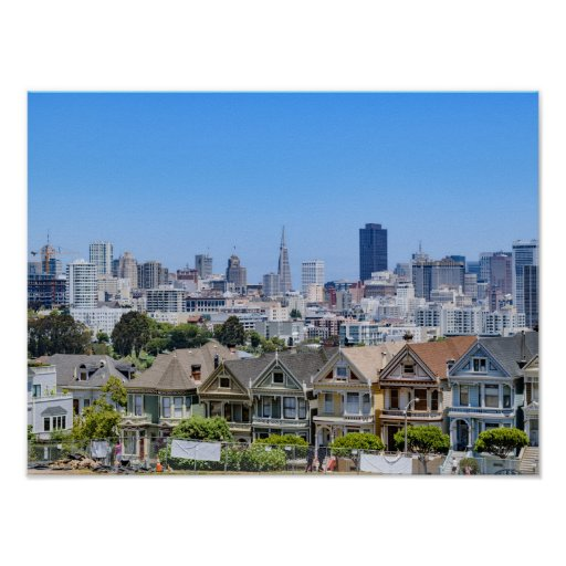 Painted Ladies and the San Francisco Skyline Poster