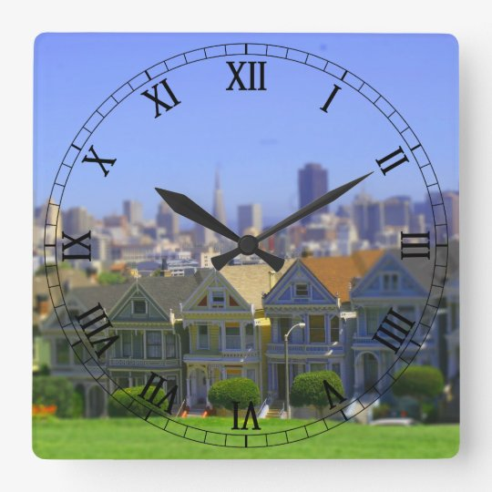 Painted Ladies in San Francisco (Tilt & Shift) Square Wall Clock