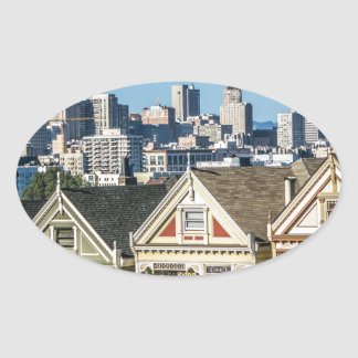 painted ladies san francisco oval sticker