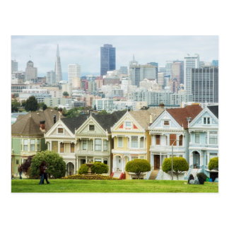 Painted Ladies, Victorian houses and skyline Postcard