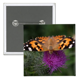 Painted lady butterfly 2 inch square button