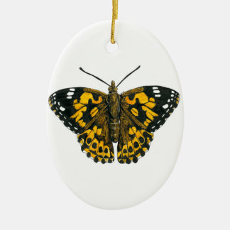 Painted lady butterfly ceramic oval ornament