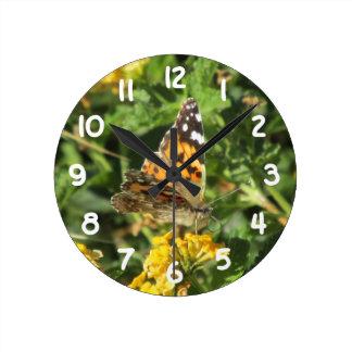 Painted Lady Butterfly on Lantana Blooms Wallclocks