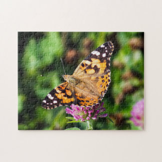 Painted Lady Butterfly on Red Clover Puzzle