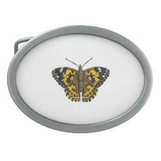 Painted lady butterfly oval belt buckles