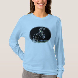 Painted Lady Leaping horse long sleeve tee shirt