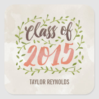Painted Leaves Graduation Stickers Square Sticker