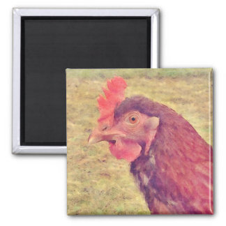 Painted Little Red Hen Magnet