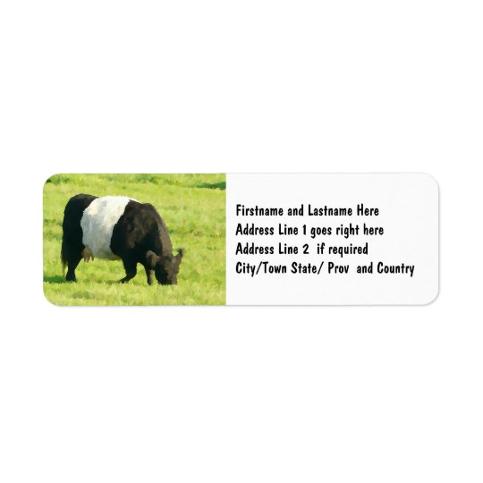 Painted Look Belted Galloway Cow in Field Return Address Label