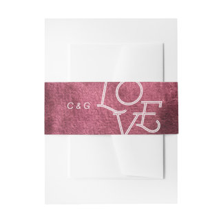 Painted marsala watercolor modern simple wedding invitation belly band