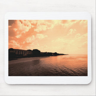 Painted Orange Silhouette Sunset Mouse Pad