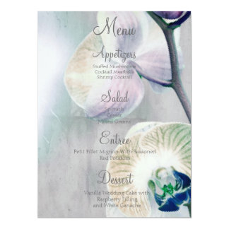 Painted Orchid Wedding Menu 6.5x8.75 Paper Invitation Card