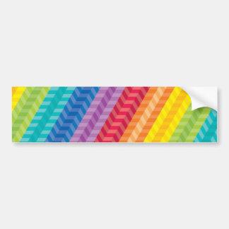 Painted Palette Rainbow Herringbone Pattern Bumper Sticker