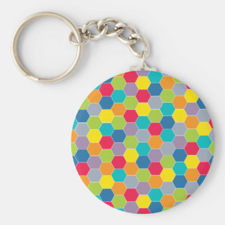 Painted Palette Rainbow Hexagons Pattern Basic Round Button Keychain