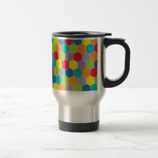 Painted Palette Rainbow Hexagons Pattern Travel Mug