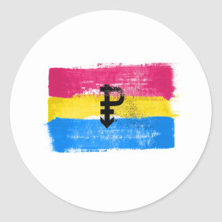 PAINTED PANSEXUAL PRIDE FLAG and SYMBOL - -  Classic Round Sticker