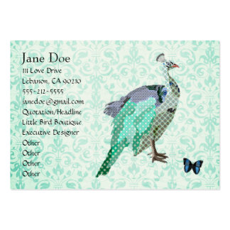 Painted Peacock Elegant Damask Cards Large Business Card