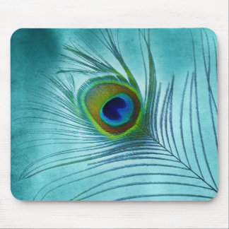Painted Peacock Feather on Turquoise Blue Mouse Pad