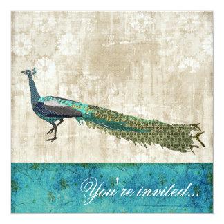 "Painted Peacock Sea Blue & White Vintage Invitatio 5.25"" Square Invitation Card"