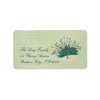 Painted Peacock Vintage  Label Address Label