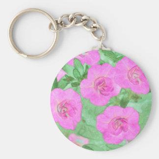 Painted Petunias Keychain