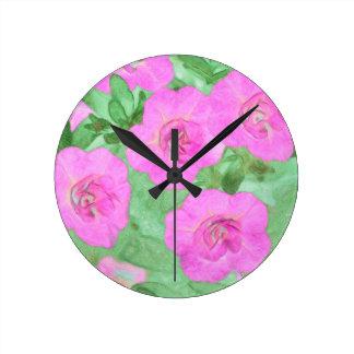 Painted Petunias Round Clock