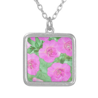 Painted Petunias Silver Plated Necklace