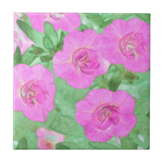 Painted Petunias Tile
