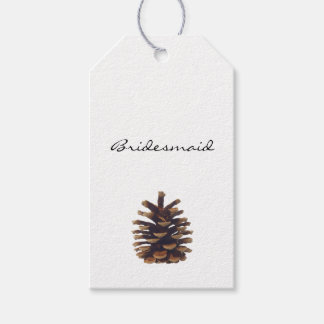 Painted Pine Cone Wedding Escort Card Gift Tags