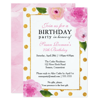 Painted Pink Flowers, w/Gold, Bridal Shower Card