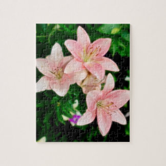 Painted Pink Lilies Jigsaw Puzzle