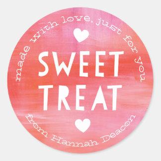 Painted Pink Red Sweet Treat Valentines Day Round Sticker