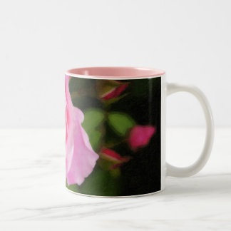 Painted Pink Roses Two-Tone Coffee Mug