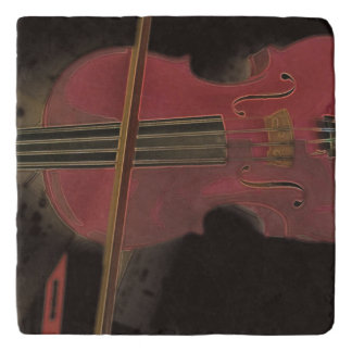 Painted Pink Violin Trivet
