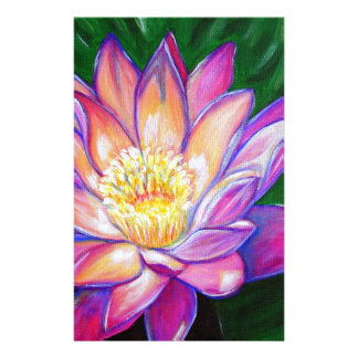 Painted Pink Water Lily Custom Stationery