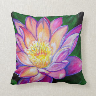 Painted Pink Water Lily Throw Pillow