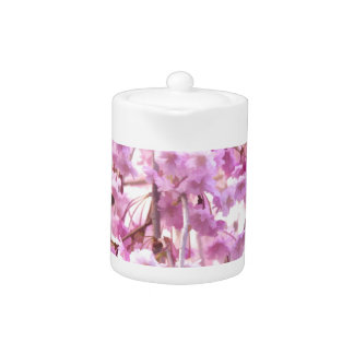 Painted Pink Weeping Willow Flowering Tree Teapot